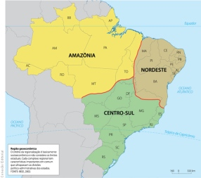 Regionalização do Brasil segundo Pedro Geiger, de acordo com critérios econômicos